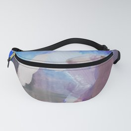 brush painting texture abstract background in blue purple brown Fanny Pack