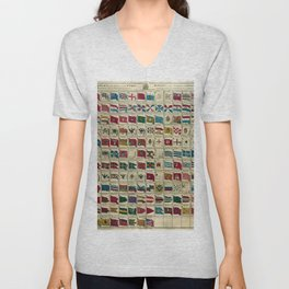 Vintage Print - Naval Flags of the World, 1783 Unisex V-Neck