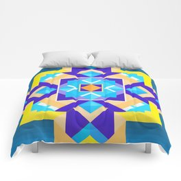 Geometric Tribal Mandala Inspired Modern Trendy Vibrant (Blue, Cobalt, Yellow, Orange, Purple) Comforters