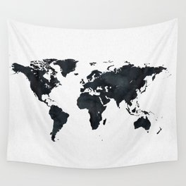 World Map in Black and White Ink on Paper Wall Tapestry