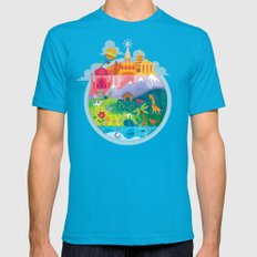 Small World Mens Fitted Tee Teal MEDIUM