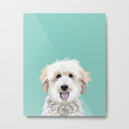 Golden Doodle pet portrait art print and dog gifts Metal Print