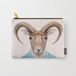 U is for a Urial with an Umbrella and Unicorn Patterned Shirt   Art Print Carry-All Pouch