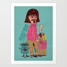 french father helps his son Art Print