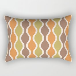 Classic Retro Ogee Pattern 846 Orange Brown and Olive Rectangular Pillow