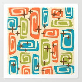 Mid Century Modern Cosmic Galaxies 726 Orange Turquoise and Chartreuse Art Print