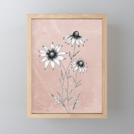 Wildflowers Ink Drawing | Dusty Pink Framed Mini Art Print