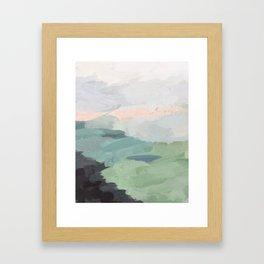 Seafoam Green Mint Black Blush Pink Abstract Nature Land Art Painting Gerahmter Kunstdruck