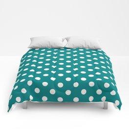 Small Polka Dots - White on Dark Cyan Comforters