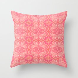 Coral Elephant Pattern Throw Pillow