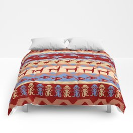 Inca Animals Fish and Birds Pattern Comforters