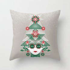 Christmas woman tree Throw Pillow