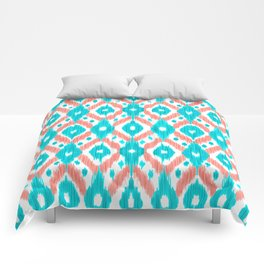 Artsy Coral Teal Abstract Ikat Geometric Pattern Comforters