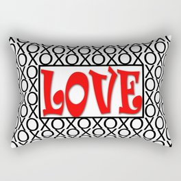 LOVE XOs Valentine Typography Digital Illustration, Modern Artwork Rectangular Pillow