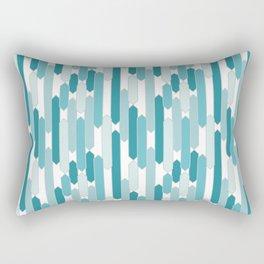 Modern Tabs in Beachy Blues on White Rectangular Pillow