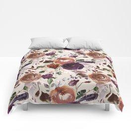 Bohemian orange violet brown watercolor floral pattern Comforters