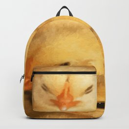 Clutch of Yellow Fluffy Chicks With Decorative Border Backpack