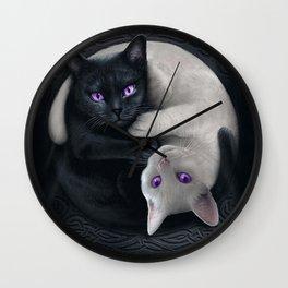 Yin Yang Cats Pattern Carbon Wall Clock