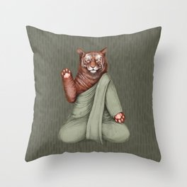 meditating tiger green Throw Pillow