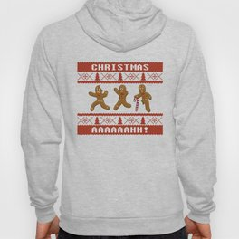 Ugly Christmas Sweater Scared Gingerbread Men Red Hoody