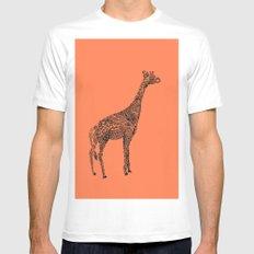Designer Giraffe Coral Mens Fitted Tee White MEDIUM