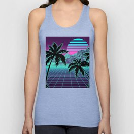 Retro 80s Vaporwave Sunset Sunrise With Outrun style grid print Unisex Tank Top