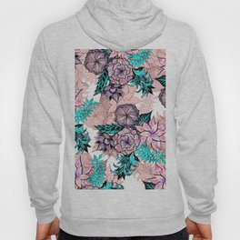 Girly Watercolor and Rose Gold Floral Illustration Hoody