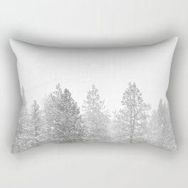 Snow Day // Black and White Winter Landscape Photography Snowing Whiteout Blizzard Rectangular Pillow