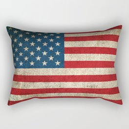 Old and Worn Distressed Vintage Flag of The United States Rectangular Pillow