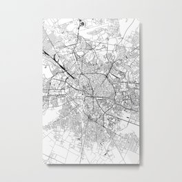 Bucharest White Map Metal Print