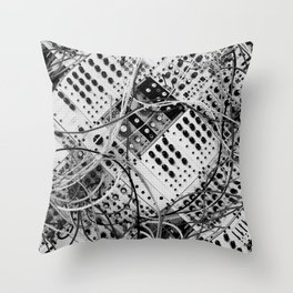 analog synthesizer  - diagonal black and white illustration Throw Pillow