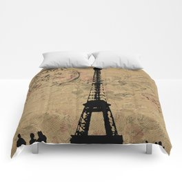 EIFFEL TOWER FRENCH COLLAGE Comforters