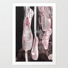 Paris Ballet Pointe Shoes - Paris Ballerina Pink Pointe Shoes - Paris Ballet Art Typography Art Print