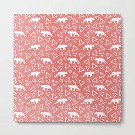 Wild African walking white lioness silhouettes and abstract triangle shapes. Stylish whimsical ethnic coral salmon red color retro vintage geometric animal nature pattern. Metal Print