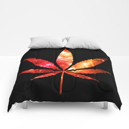 Weed : High Times orange red pink  Galaxy Comforters