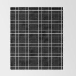 Square Grid Black Throw Blanket