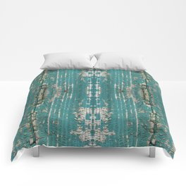 Rustic Wood Turquiose Paint Weathered Comforters