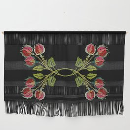 Embroidered Scandi Flowers Wall Hanging