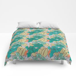 Green Lilies and Orchids Comforters