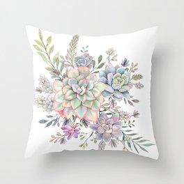 succulent watercolor 8 Throw Pillow