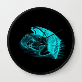 A sleeping Angel in black and green design Wall Clock