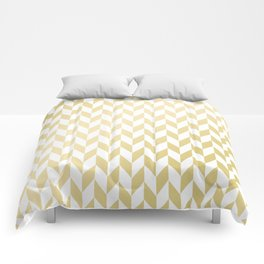 Geometrical elegant abstract gold white pattern Comforters