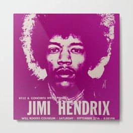 1969 Jimi Hendrix Concert Handbill Poster, Will Rogers Colosseum, Ft. Worth, Texas Metal Print