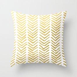 Brush painted chevron in gold Throw Pillow