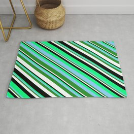 Eyecatching Green, Light Sky Blue, Forest Green, White, and Black Colored Lines Pattern Rug