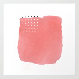 Abstract Pink Watercolor Brushstroke with Black and White Polka Dots Art Print