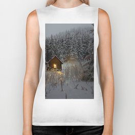 Tiny Cabin In The Winter Forest Snow Covered Pine Trees Biker Tank