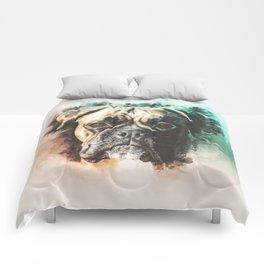 Boxer Digital Watercolor Painting Comforters