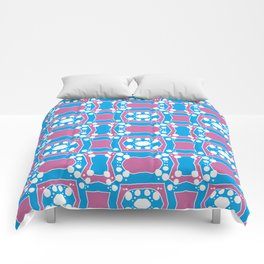 Tiffany - Symmetrical Abstract Art in Blue, Purple and White Comforters
