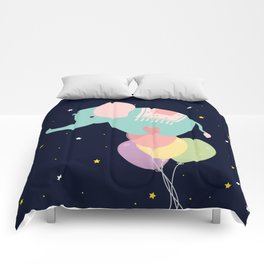 Elephant and Balloons At night , nursery decor , Comforters